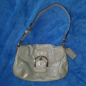 Coach light blue Patent Leather Hobo Style Bag